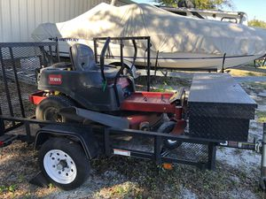42 Zero Turn Lawn Mower with 4x8 Trailer. Trailer has Toolbox and equipment rack. Tailgate is also reinforced. for Sale in Winter Haven, FL