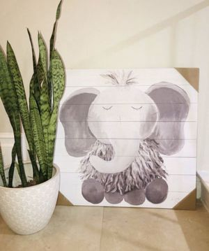 Baby Elephant Illustration Shabby Chic Wood Wall Art for Sale in Orange, CA