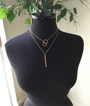 3 in 1 set of double chains and earrings, gold plated for Sale in Columbia, SC