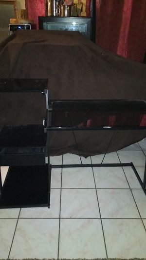 Black metal desk with a drawer and removable glass in four places for Sale in Spring, TX