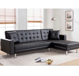 Tufted Leatherette Sectional Sofa Bed. With Reversible Chaise. for Sale in Pomona,  CA