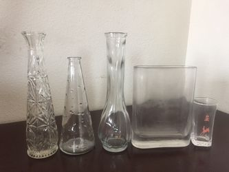 Set of (4) Glass Vases + Shot Glass for Sale in Bend,  OR