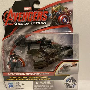 Marvel Avengers Age of Ultron Captain America and Marvel's War Machine Figures with Blast Cycle for Sale in Charlotte, NC
