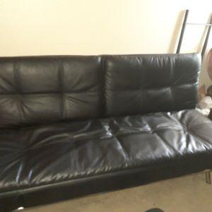 Modern Black Leather Futon...Like New...So Comfortable!!! for Sale in Santa Ana, CA