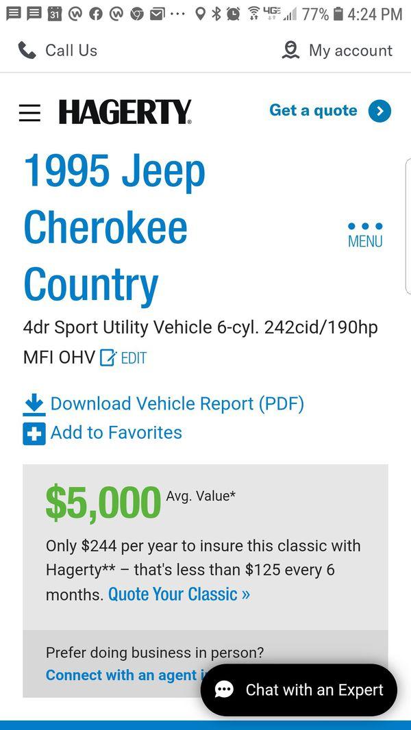 1995 Jeep Cherokee Country XJ 2WD. 78k orig mi