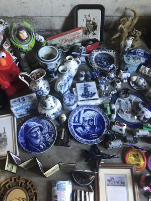 LOT! Blue Delft, Chinese figures, Toys, crib, inflatable party raft. for Sale in Lakeside, CA