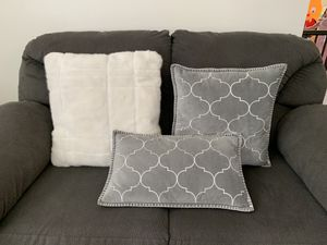 Grey and white throw pillows for Sale in Tampa, FL