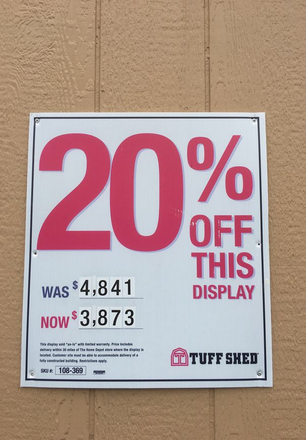 Tuff Shed TR-800 10 X 12 20% OFF !!