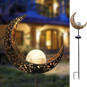 Garden Solar Lights Outdoor Decorations Lawn Ornaments Moon Crackle Glass Globe Solar Stake Light IP64 Waterproof Solar Powered Stake Lights for Sale in Alhambra, CA
