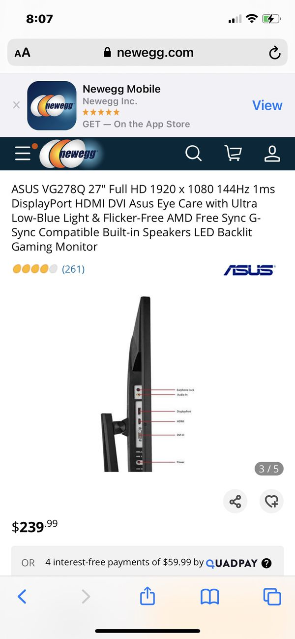 ASUS Gaming Monitor Screen