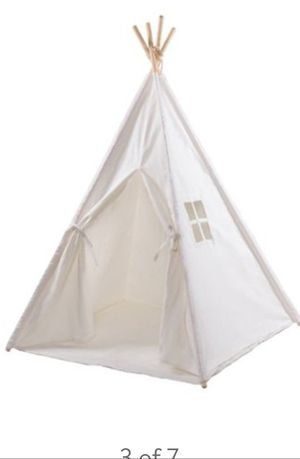 Kids teepee tent white canvas fabric for Sale in FL, US