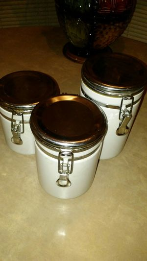 Canisters, ceramic, white, used for Sale in Newport News, VA