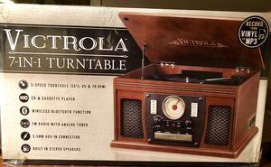 Victrola 7-In-1 Turntable Vinyl Record Player with FM Radio, CD and Cassette Player, Wireless Bluetooth Function and Built in Speakers Model # VTA-30 for Sale in Chesapeake, VA
