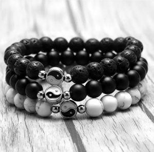 Tai Chi Yin Yang Natural Stone Beads Charm Bracelet Black/White for Sale in Morton Grove, IL