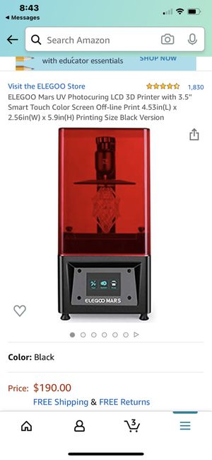 ELEGOO Mars UV Photocuring LCD 3D Printer with 3.5'' Smart Touch Color Screen Off-line Print 4.53in(L) x 2.56in(W) x 5.9in(H) Printing Size Black Ver for Sale in Fountain Valley, CA