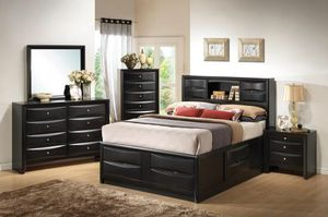 Beautiful new 5 piece Cal King bed set only 1,090$!!! (1 bed, 1 nightstand, 1 mirror, 1 dresser, 1 chest) for Sale in San Leandro, CA