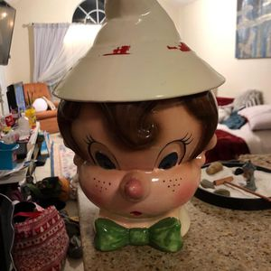 Rare Vintage Metlox Poppytrail Pinocchio Boy Head Hand Painted Cookie Jar 1950's for Sale in Orlando, FL