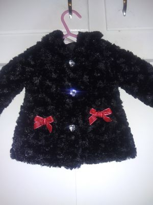 Baby girl faux fur coat and vest, coat has clear plastic buttons that look like diamond and cute red bows, both are stylish and warm. for Sale in Modesto, CA