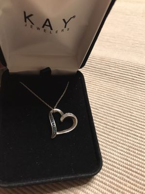 Kay Jewelers Heart Necklace Black and White Diamonds Sterling Silver for Sale in Chicago, IL