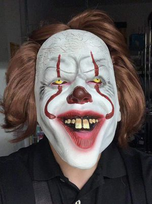 NEW Pennywise the dancing clown halloween mask wig movie character IT horror film costume dress up party for Sale in San Dimas, CA