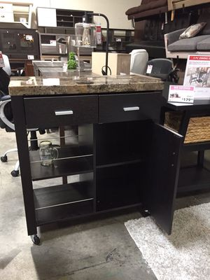 Faux Marble Top Kitchen Cart, Red Cocoa for Sale in Santa Fe Springs, CA