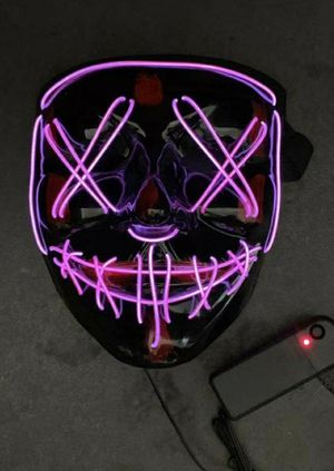 New halloween costume mask cosplay rave party LED glow scary mask costume party red green or blue purge movie dance club for Sale in Montebello, CA