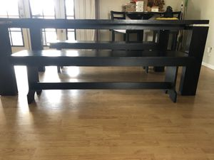 Large dining table with two benches for Sale in Manteca, CA