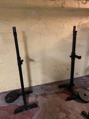 300# Olympic weight set with squat rack, bench and lifters for Sale in Canandaigua, NY