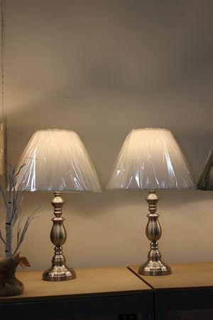 27 inch Brushed Steel Decor Table Lamp (Set of 2), 6167SN for Sale in Downey, CA