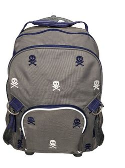 POTTERY BARN KIDS AND ADULTS Grey/Navy Rolling Backpack w/ EMBROIDERED SKULLS!! for Sale in Woodstock,  GA