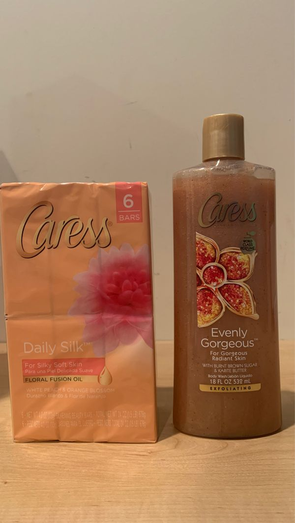 Caress Daily Silk/Evenly Gorgeous set: 6 bars soap + 18 oz body wash for $8