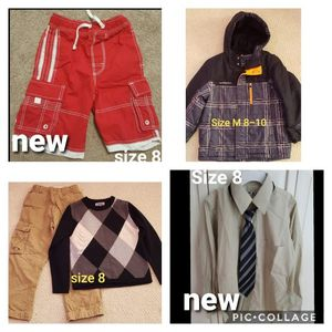 Boys clothes size 8 lines pants sweater new swimshorts coat shirt for Sale in Duncan, SC