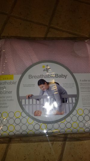Breathable baby crib liner girl pink for Sale in Hesperia, CA