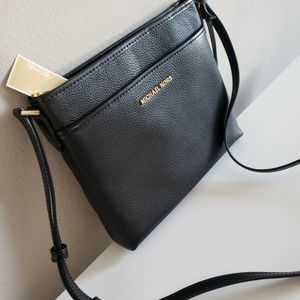 Brand New With Tags Michael Kors Crossbody Messenger Bag Purse Black With Gold Mk Designer for Sale in Winchester, CA