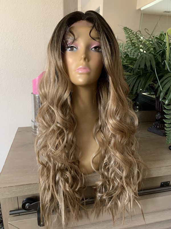 ASH BLONDE BROWN OMBRÉ WAVY LACE FRONT PARTED BEACH NATURAL LAYERED LACE WIG