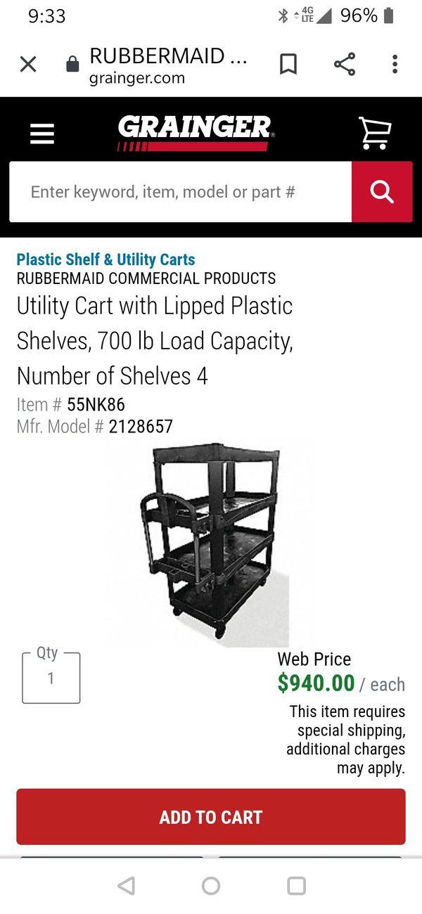 Rubbermaid 4 Shelf heavy Duty Cart