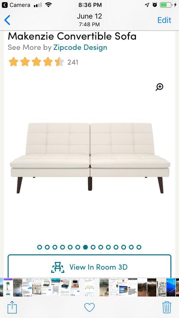 Brand new white leather futon