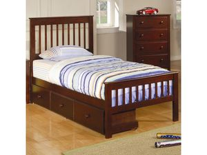 Twin chesnut bed with storage for Sale in Fresno, CA