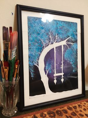"""Hand made """"Blue Tree"""" Painting for Sale in North Miami Beach, FL"""