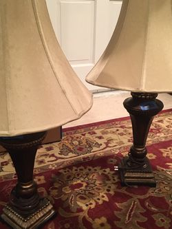 Pair of Lamps with Olive Shades for Sale in Richfield,  OH