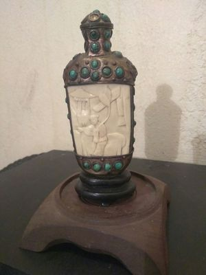 Antique Chinese Snuff Bottle, w Tibetan Silver & Turquoise Beads, Rare Carved Piece.. for Sale in Los Angeles, CA