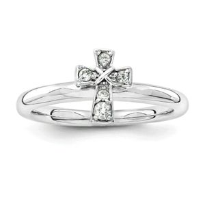 (Shipped Only) Sterling Silver White Topaz Cross Stackable Ring for Sale in Wichita, KS