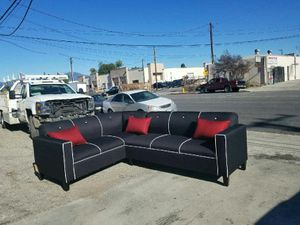 NEW 7X9FT DOMINO BLACK FABRIC SECTIONAL COUCHES for Sale in Las Vegas, NV