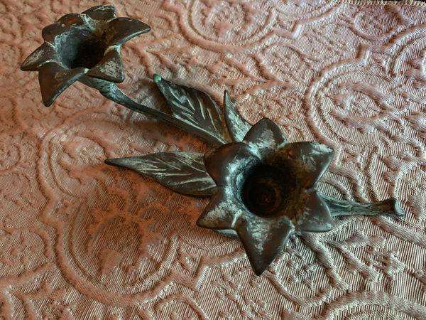 Vintage solid copper floral candle holder
