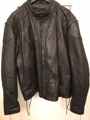 River Like New Road Heavy Leather Motorcycle Jacket - Size 52 for Sale in Port Orchard, WA