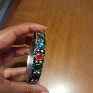 Vintage Glass inlaid metal bangle missing only one bead for Sale in San Diego, CA