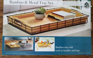 Brand New Bamboo & Metal Tray Set for Sale in Marysville, WA