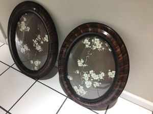 """Vintage oval framed with convex glass, set of two approximately 18"""" across x28""""long. Date from the early 1920's for Sale in Tacoma, WA"""