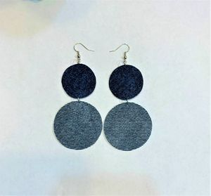 Denim Dangle Earring two rounds shape stylish earring for Sale in Peoria, IL