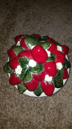 Ceramic Strawberry Center Piece/ Cookie Jar for Sale in Stone Mountain, GA